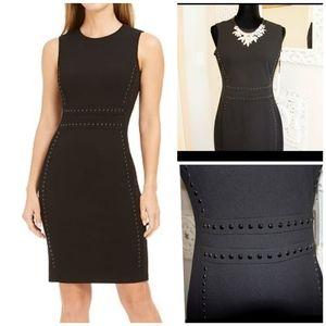 Calvin Klein Solid Sheath Dress with Button Detail